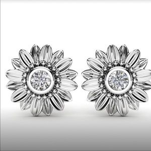 Sunflower Crystal Stud Earrings
